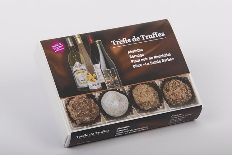 Schokoladentrüffel-Selection mit Absinth, Schnaps, Pinot noir und Bier, Atelier Seydoux