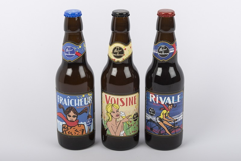 Trio von handwerklich hergestellten Bieren der Brauerei La Brasserie Trois Dames
