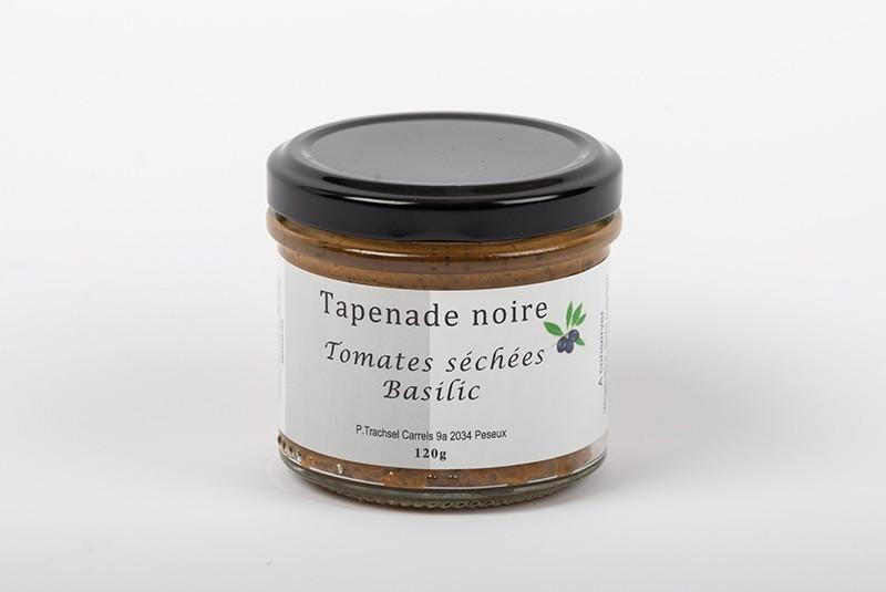 Schwarze Olivenpaste mit grtrockneten Tomaten und Basilikum